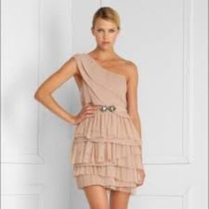 BCBG MaxAzria One Shoulder Tiered Tulle Dress